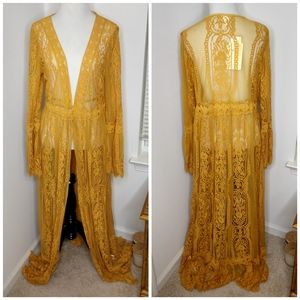 Band of Gypsies Gold Lace Kimono Duster